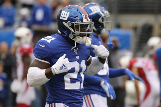 Jabrill Peppers of the Giants before the game between the Arizona Cardinals and the New York Giants at MetLife Stadium in east Rutherford on October 20, 2019.