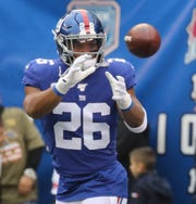 Saquon Barkley of the GiantsÊduring warm ups before the game between the Arizona Cardinals and the New York Giants at MetLife Stadium in east Rutherford on October 20, 2019.