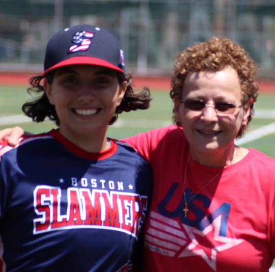 Alexia Jorge, 16, with Maria Pepe, the Hoboken resident who in 1972 became the first girl to play Little League baseball.