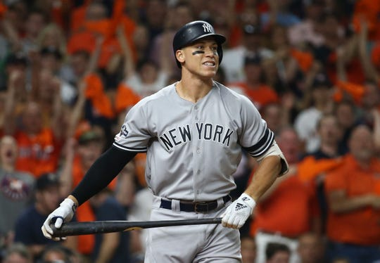 Oct 19, 2019; Houston, TX, USA; New York Yankees right fielder Aaron Judge (99) reacts after striking out in the fourth inning against the Houston Astros in game six of the 2019 ALCS playoff baseball series at Minute Maid Park.