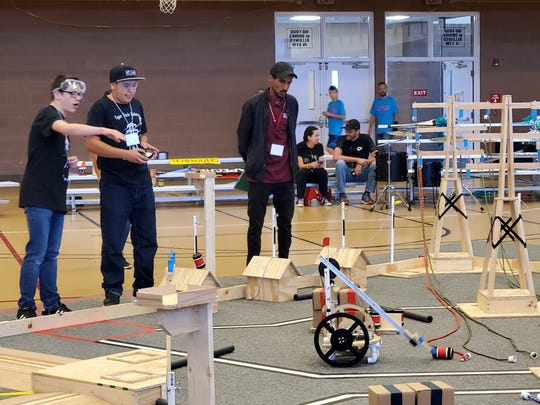 Teams of middle school and high school students from across New Mexico and El Paso compete in the NM BEST Robotics Competition held Saturday, Oct. 19, 2019, at New Mexico State University.