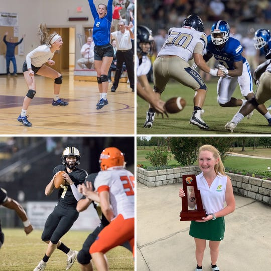 Jay's Caitlyn Gavin (top left, white shirt), Washington's Eric Thomas Jr. (top right), Milton's Tyler Buchanan (bottom left) and Catholic's Lacey Fisher (bottom right) are nominees for PNJ Athlete of the Week.