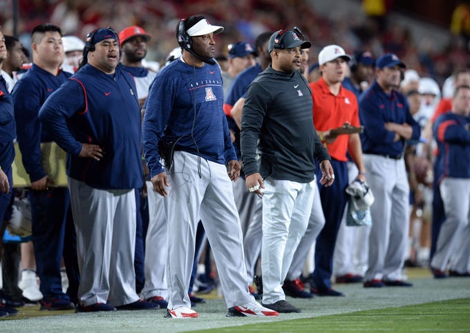 October 19, 2019; Los Angeles, CA, USA; Arizona Wildcats head coach Kevin Sumlin watches game action against the Southern California Trojans during the first half at the Los Angeles Memorial Coliseum.