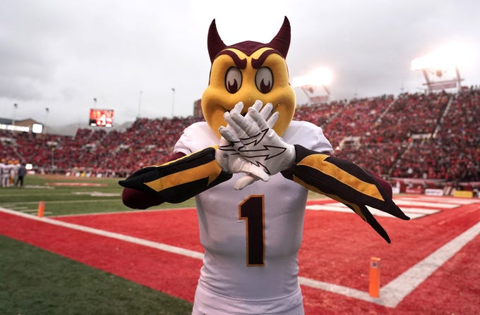 Oct 19, 2019; Salt Lake City, UT, USA;  Arizona State Sun Devils mascot Sparky poses during a game against the Utah Utes at Rice-Eccles Stadium.