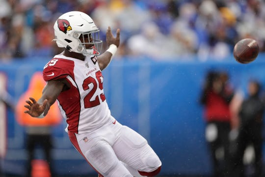 Arizona Cardinals' Chase Edmonds reacts after scoring during the first half of an NFL football game against the New York Giants, Sunday, Oct. 20, 2019, in East Rutherford, N.J. (AP Photo/Adam Hunger)