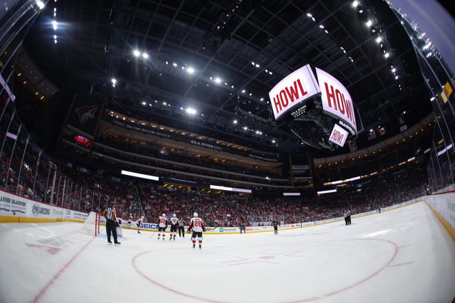 A wide angle view of Gila River Arena during the game between the Arizona Coyotes and the Ottawa Senators on Oct. 19, 2019 in Glendale, Ariz.