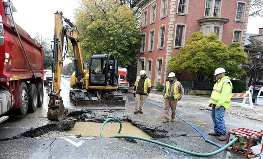 A sinkhole on Market Street east of Queen Street closed the block to traffic Sunday, Oct. 20, 2019. Bill Kalina photo