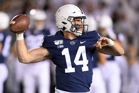 Oct 19, 2019; University Park, PA, USA; Penn State Nittany Lions quarterback Sean Clifford (14) warms up prior to the game against the Michigan Wolverines at Beaver Stadium. Mandatory Credit: Rich Barnes-USA TODAY Sports