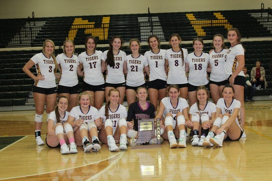 Hagerstown volleyball won its fourth consecutive sectional championship after a sweep of Knightstown on Saturday, Oct. 19, 2019 at Northeastern High School.
