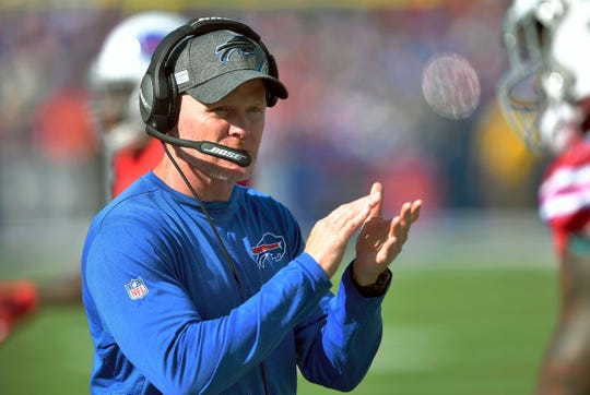 Buffalo Bills head coach Sean McDermott gives encouragement from the sideline the first half of an NFL football game Miami Dolphins, Sunday, Oct. 20, 2019, in Orchard Park, N.Y. (AP Photo/Adrian Kraus)