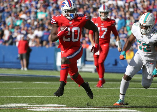 Bills running back Frank Gore gained 55-yards against Miami.