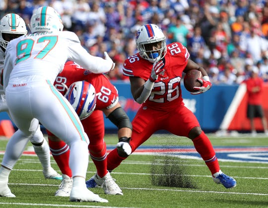 Bills running back Devin Singletary looks for running room.  Singletary ran for 26 yards on seven carries.
