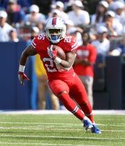 Bills running back Devin Singletary finds a big hole against Miami.