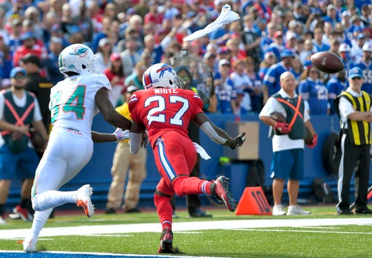Buffalo Bills cornerback Tre'Davious White, right, jumps in front of Miami Dolphins wide receiver Isaiah Ford for an interception at the goal line in the second half of an NFL football game, Sunday, Oct. 20, 2019, in Orchard Park, N.Y. (AP Photo/Adrian Kraus)