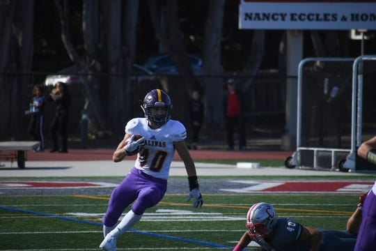 Salinas running back Jeff Shaffer (40) had a career day Saturday against Carmel and earned Boys' Athlete of the Week honors.