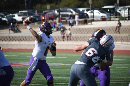 Host San Benito will look to keep the Salinas offense, led by quarterback Carl Richardson (8), off the field as much as possible in Friday night's game.
