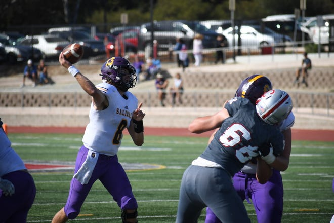 Salinas quarterback Carl Richardson (8) fires a pass to his left. Oct. 19, 2019.
