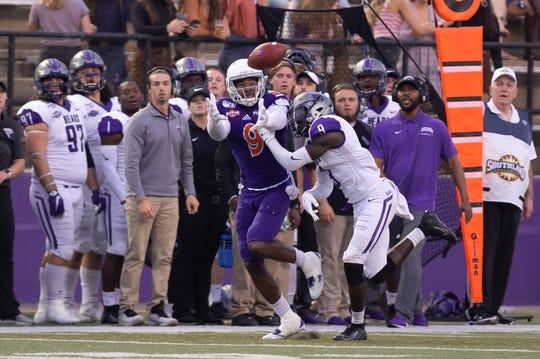 Northwestern State's Akile Davis looks to haul in a pass Saturday vs. Central Arkansas.