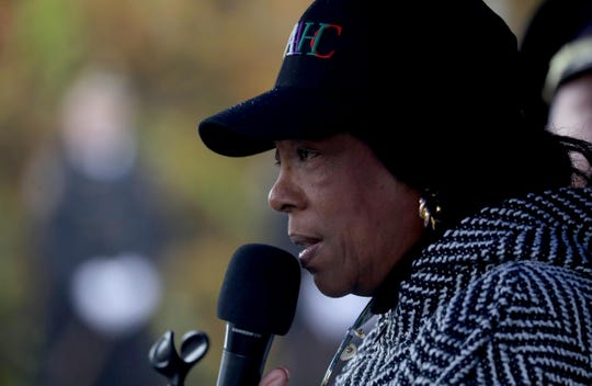 """Constance Frazier, Rockland County Commissioner of Human Rights, and cousin of Nyack Police Officer Waverly """"Chipper"""" Brown, speaks during the annual commemoration honoring Sgt. Edward O'Grady, officer Waverly Brown, and Brinks guard Peter Paige on the 38th anniversary of the Brinks Robbery in Nyack Oct. 2o, 2019. O'Grady, Brown, and Paige were killed in the robbery attempt, which took place at the intersection of route 59 and Mountainview Road in Nyack on Oct. 20, 1981."""