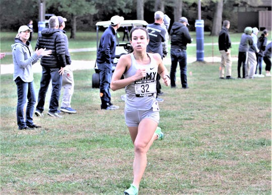 Army's Mika Andrews finishes first for Army and third overall in the Oct. 18, 2019 Army vs. Navy Star Meet women's cross-country race at  Bowdoin Park in Wappingers. The West Point junior formerly ran for Dobbs Ferry High
