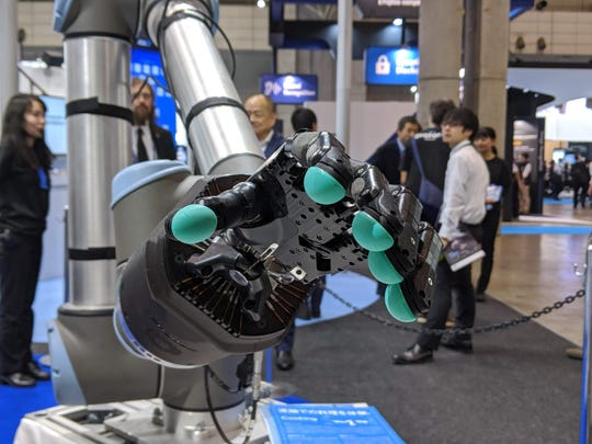 All Nippon Airways is planning to add robots to its friendly skies. Among them is robot hand with sensor-studded gloves that's controlled by a human operator.
