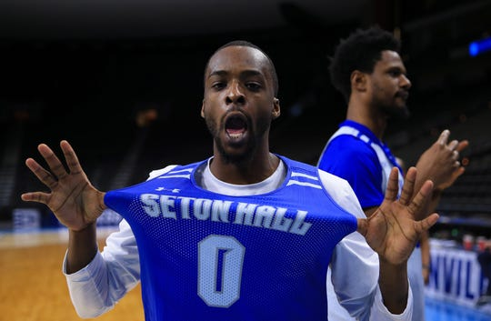 Seton Hall Pirates guard Quincy McKnight (0) during practice day before the first round of the 2019 NCAA Tournament