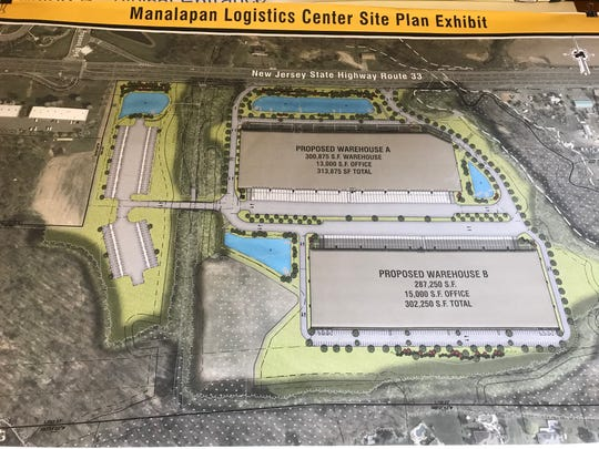 Architectural plans for a 600,000 square-foot warehouse project in Manalapan that is sparking opposition.