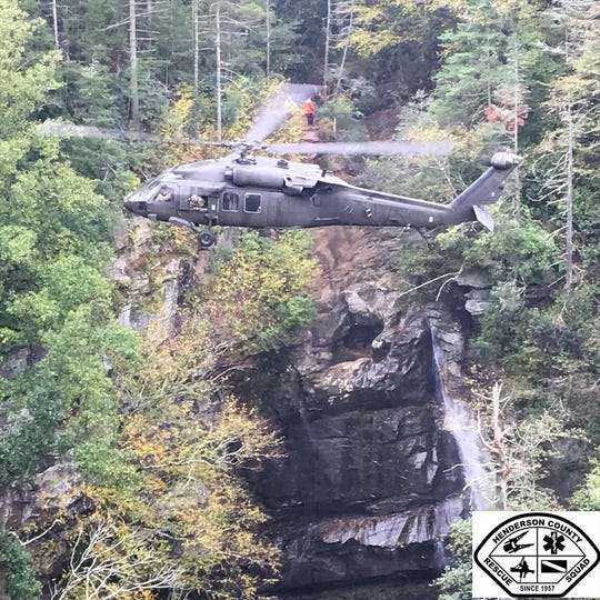 The N.C. Helicopter and Aquatic Rescue Team's Blackhawk helicopter extracted a hiker Oct. 19 from the base of Big Bradley Falls in Polk County.