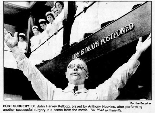 "Dr. John Harvey Kellogg, played by Anthony Hopkins, after performing successful surgery in a scene from the 1994 film, ""The Road to Wellville."""