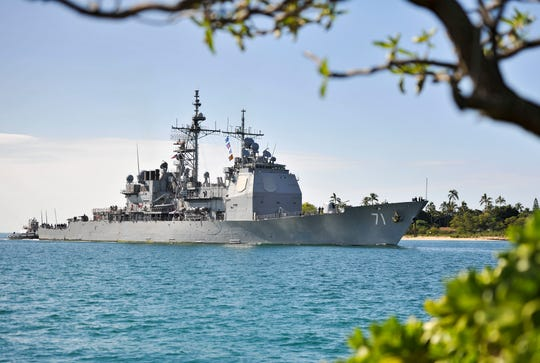 The Ticonderoga-class guided-missile cruiser USS Cape St. George arrives to Joint Base Pearl Harbor-Hickam for a scheduled port visit in 2015. The Cape St. George is coming to Vigor in Seattle for a major overhaul.