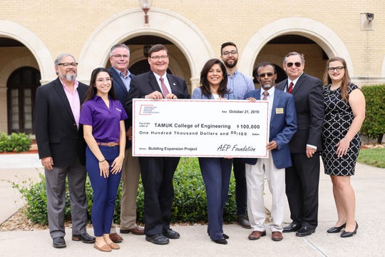 AEP Texas presents $100,000 to the Frank H. Dotterweich College of Engineering at Texas A&M University-Kingsville on Monday, Oct. 21, 2019.