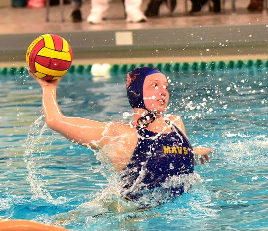 Zoe Egbert adds to the goal count for the Mavericks in their drive to come from behind in the 2019 Girls Ohio Water Polo State Championship, October 19, 2019.