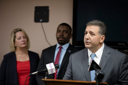 Alex Triantafilou, Hamilton County GOP chairman, speaks during a press conference about a petition campaign to put the Hamilton County sales tax increase on the ballot at the Hamilton County Republican Party office in Cincinnati, on Monday, Oct. 21, 2019.