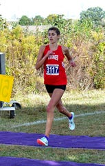 Maria Kaylor of Princeton scored a 1st place run a tthe 2019 SWDAB District Division 1b girls race at VOA Park, October 19, 2019.