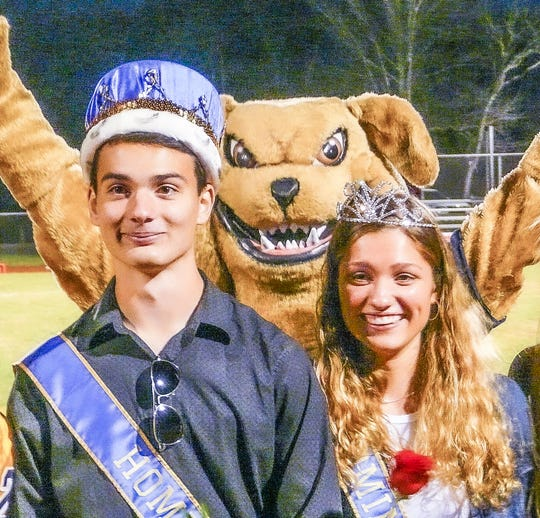 Delaware Valley High School crowned its homecoming king and queen before the homecoming football game on Friday, Oct. 18. They are Steve Barna of Kingwood Township and Brianna Schaible of Holland Township. School mascot Tuffy the Terrier was on hand to give his blessing to the royal pair.