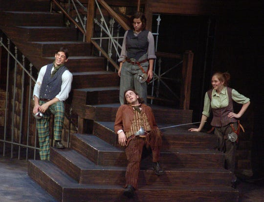 Brett Azar (far left) in the role of Abram. Romeo and Juliet 2005, URI Theatre.