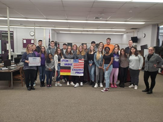 German exchange students with their teachers and Old Bridge High School students with their teachers celebrating the GAPP award. Old Bridge  students and their teachers will travel to Germany in April as part of the program.