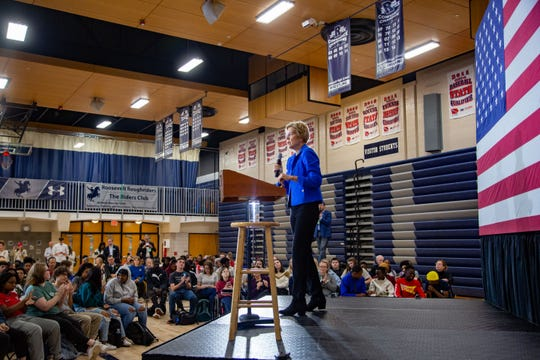 Democratic presidential candidate Sen. Elizabeth Warren, D-Mass., speaks and takes questions at Roosevelt High in Des Moines Monday, Oct. 21, 2019.