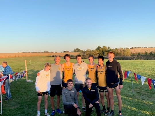 The Southeast Polk boys won the CIML conference cross country meet Thursday in Marshalltown. In front are coaches Aaron Wells and Pat Owens. In back, from left: Carson Owens, Eric Patterson, Caden Mitchell, Drake Hanson, Cade Mash, Hudson Frank and Chade Bartlett.