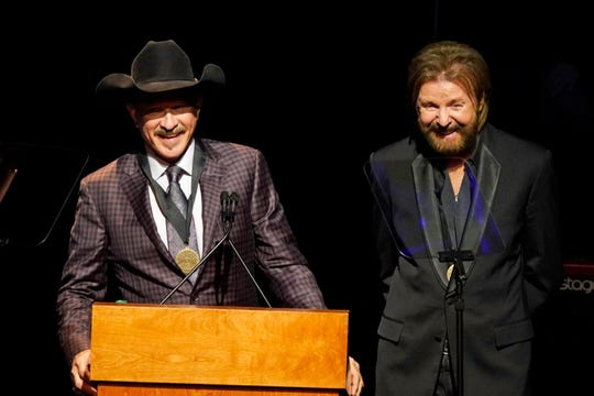 Kix Brooks, left, and Ronnie Dunn, right, speak after being inducted into the Country Music Hall of Fame at 2019 Medallion Ceremony at the Country Music Hall of Fame and Museum on Sunday, Oct. 20, 2019 in Nashville, Tenn.