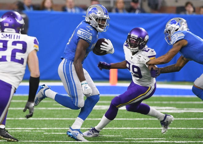 Lions running back Kerryon Johnson  suffered a knee injury in the first quarter against the Minnesota Vikings on Sunday.