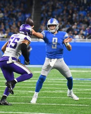 Lions quarterback Matthew Stafford is on pace for nearly 4,700 yards, 35 touchdowns and eight interceptions and career-best efficiency numbers.