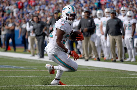 Dolphins running back Kenyan Drake could be an option for the Lions if Kerryon Johnson misses much time with an injury.