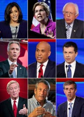 This combination photo shows, top row from left, Presidential candidates, Sen. Kamala Harris, Sen. Elizabeth Warren, Sen. Bernie Sanders, middle row from left, former Congressman Joe Walsh, Sen Cory Booker and South Bend Mayor Pete Buttigieg, and bottom row from left, Former Massachusetts Gov. Bill Weld, former South Carolina Gov. Mark Sanford and former Congressman Beto O'Rourke, who will participate in an hour-long special about climate change, airing Nov. 7.