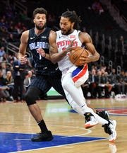 Pistons guard Derrick Rose (25) has played in 76 games the last two seasons combined.
