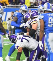 The Lions defensive front got pushy here after a play was finished, but failed to generate much push during the game Sunday against the Vikings.