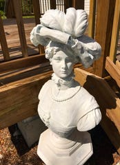 The Alva Library Museum's Victorian mascot has a new home - and a new coat of paint