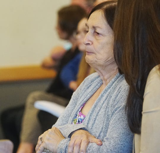 Mary Ann Groves, the mother of Teresa Sievers  reacts after a motion for aqcuittal was denied by Judge Bruce Kyle in the the trial for Jimmy Ray Rodgers Monday, October, 21, 2019. He is charged in the murder of Dr. Teresa Sievers. Both the prosecution and the defense have rested their case.