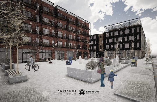 A conceptual drawing of a development proposed for Mike McCarthy Way by Merge Urban Development and Slingshot Architecture.