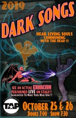 "The poster for this year's ""Dark Songs"" concerts Oct. 25 and 26 at Third Avenue Playhouse in Sturgeon Bay."